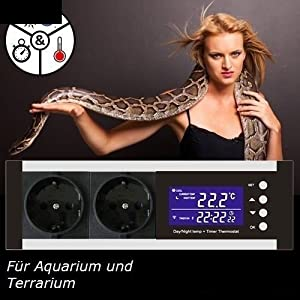 [Gesponsert]OCS.tec Digitaler Thermostat Thermoregler Temperaturregler Controller Zeitschaltuhr Alarm Heiz-/Kühlsteuerung Reptilien Terrarium TMT-100 Pro TX1