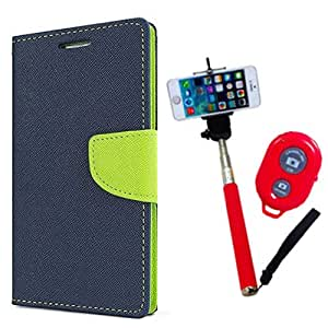 Aart Fancy Diary Card Wallet Flip Case Back Cover For Mircomax Q372 - (Blue) + Remote Aux Wired Fashionable Selfie Stick Compatible for all Mobiles Phones By Aart Store