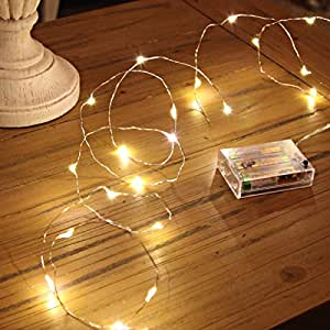 20 LED Micro Silver Wire Indoor Battery Operated Firefly String Lights by Festive Lights (Warm ...