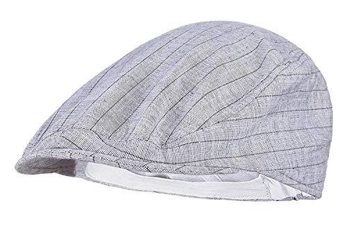 nhut Sommer Newsboy Stilvolle Baskenmütze Cap Vintage Flat Streifen Unikat Schiebermütze Schirmmütze Hüte Hat (Color : Weiß, Size : One Size) ()
