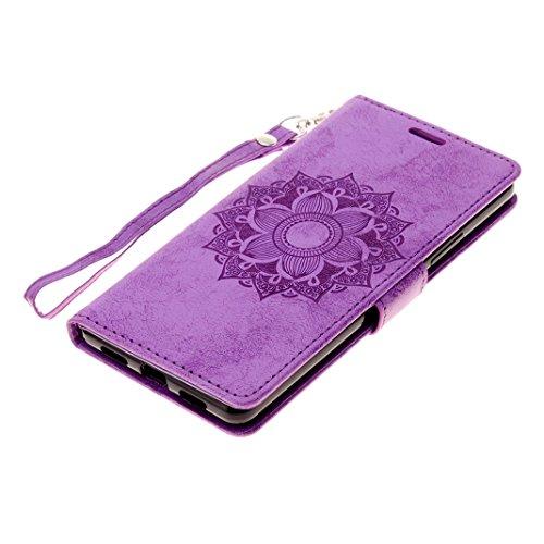 Huawei P9 Lite Cover Case HuaForCity® Portafogli Custodia in Pelle PU Copertina con Slot per schede Magnetica Flip Chiusura Stile del Libro Supporto Funzione Bumper Caso for iphone 6 Purple