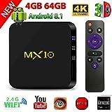 TV Box Android 8.1, 4G 64G LinStar MX10 Smart 4K TV Box RK3328 Quad Core con 4K (60Hz) Full HD / H.265 / WiFi Set Top Box con TV 3D 4K Reproductor de Medios Ultra HD con Control Remoto