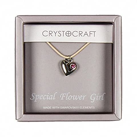 Crystocraft Keepsake Gift Ornament - Crystocraft Necklace with Heart Charm Our Special Flower Girl