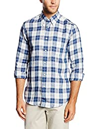 Brooks Brothers - Sport Shirt Indigo Linen,  pack, Camisa Hombre, azul, 52 IT(LRG)