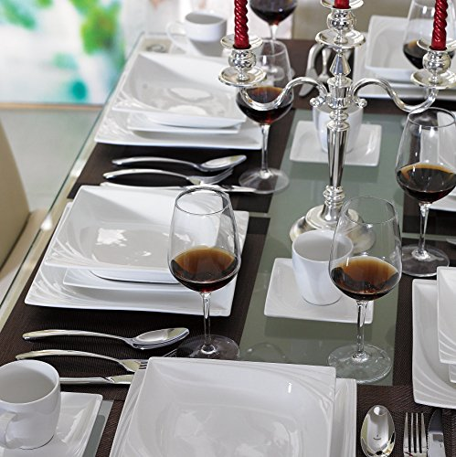 Malacasa. Serie Monica, 60 tlg. Cremeweiß Porzellan Geschirrset Kombiservice Tafelservice mit je 12 Kaffeetassen, 12 Untertassen, 12 Kuchenteller, 12 Suppenteller und 12 Essteller für 12 Personen