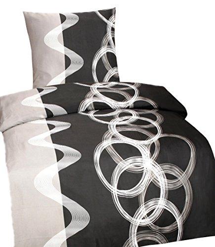 Leonado Vicenti Bettwäsche 135x200 cm Mikrofaser mit Reißverschluss Set und Farbe wählbar, Set:135x200 cm 2 teilig, Muster:Sarah Grau