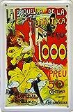 Art Escudellers Aimant Affiche Poster publicitaire de plaque métallique avec dessin retro vintage de la Catalogne/l'Espagne. Tin sign. 11 cm x 7,3 cm (LA ESQUELLA TORRATXA)