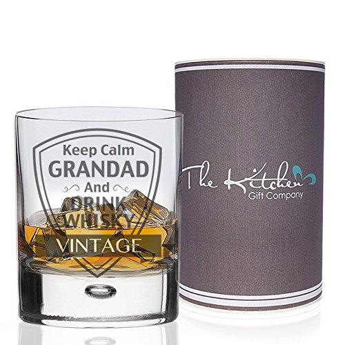 Whisky Glass - Keep Calm Grandad and Drink Whisky Tumbler - Gift Boxed