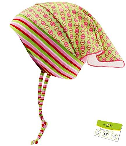 Maximo Kopftuchmütze Jerseymütze Sommermütze Mädchenmütze Kopftuch Baby Kleinkind Mädchen (MX-64500-923200-S16-BM0-57-47) in Hellgrün/Äpfel, Größe 47 inkl. EveryKid-Fashionguide