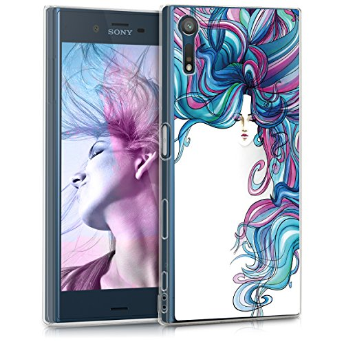 kwmobile Funda para Sony Xperia XZ/XZs - Carcasa de TPU para móvil y diseño de Mujer arcoíris en Azul/Rosa Fucsia/Blanco