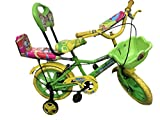 """Rising Indiatm India 14"""" Green Kids Bicycle For 3-5 Years Double Seated With Basket And Side Wheel, (Green)"""