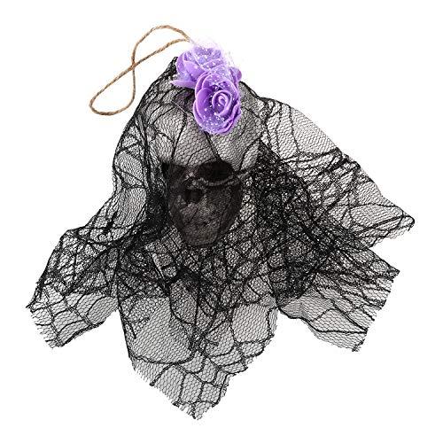 XZANTE H?ngende Animiertes Skelett Der Hexe-Stütze Geist Gruseliger Hof Im Freien Halloween Dekor Lila & Schwarz