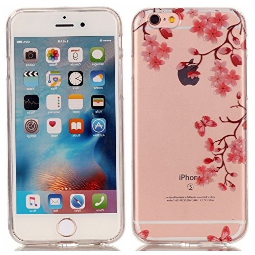 "Price comparison product image iPhone 6/6S Case [with Free Tempered Glass Screen Protector],Mo-Beauty® Soft Silicone Rubber Super Ultra Thin Slim Perfect Fitted TPU Colorful Pattern Design Jelly Protective Back Case Cover Shell for iPhone 6/6S 4.7"" inch (Plum blossom)"