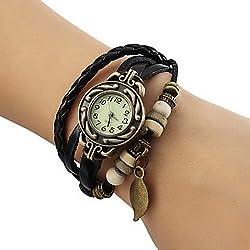 Lightinthebox® Women's Watch Bohemian Leaf Pendent Leather Weave Bracelet Fashion Watch Black Color