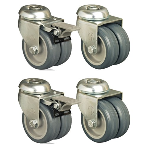 Set of 4 - 75mm Thermoplastic Wheel Castor Hole Fitting Twin Wheel Casters Test