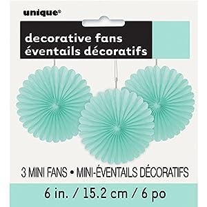 Unique Party- Paquete de 3 decoraciones abanicos pequeños de papel de seda, Color verde menta, 15 cm (63267)
