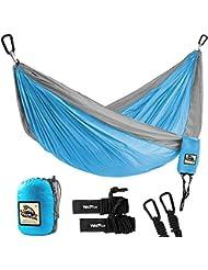 Wolfyok Portabel Camping Hängematte, Multifunktionen Super Leicht Nylon Fallschirm Outdoor Reise Garten Hammock für Mehrpersonen Kapazität