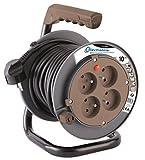 Electraline 208610 Rallonge Prolongateur électrique 10 m avec enrouleur 4 Prises 16 A section 3G1,5 mm² Taupe