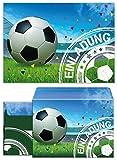 12 Einladungskarten zum Kindergeburtstag für Junge Fussball incl. 12 Umschläge / Fußball Party / bunte Einladungen zum Geburtstag (12 Karten + 12 Umschläge)