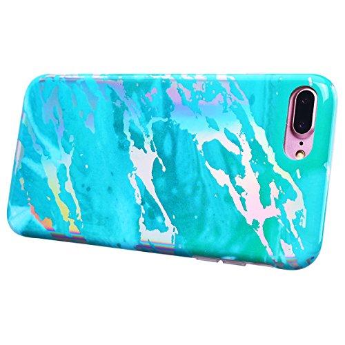 SMART LEGEND iPhone 7 Plus/iPhone 8 Plus Weiche Silikon Hülle Marmor Muster Schutzhülle Hülle Handyhülle Crystal Kirstall Clear Etui Ultra Slim Design Glatt Durchsichtig Weich TPU Handy Tasche Soft Ca Grün