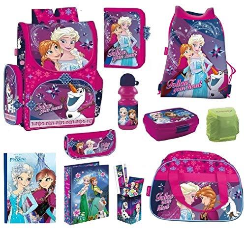 Disney die Eiskönigin Schulranzen-Set 16-TLG. Sporttasche Federmappe Regenschutz Frozen PL Pink