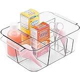Organizador plástico transparente de mDesign - Organizador de juguetes, talco o colonia bebé para el baño - Con 8 compartimentos y manijas para el transporte