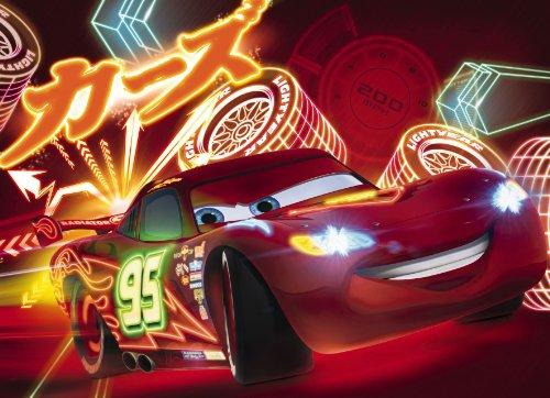 Fototapete Kindertapete CARS NEON 254x184 Disney Cartoon Kinderzimmer Autos Autorennen Lightning McQueen Wohnzimmer Mcqueen