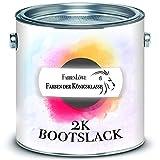 FARBENLÖWE 2-K GLÄNZEND Yachtlack inkl. Härter Hochwertiger Bootslack für GFK/Polyester/Kunststoff Alle RAL Töne und Farblos Bootsfarbe Yachtfarbe 2-Komponenten Lack (Moosgrün RAL 6005, 2,5 kg)