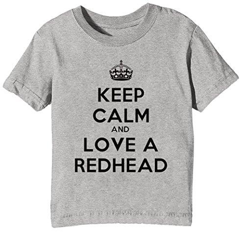 Keep Calm And Love A Redhead Kinder Unisex Jungen Mädchen T-Shirt Rundhals Grau Kurzarm Größe XL Kids Boys Girls Grey X-Large Size XL