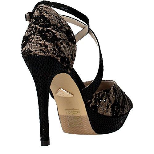 LAURA BIAGIOTTI chaussures 938 dentelle noire de talon haut de sandales PLATEAUX Nero
