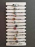 """12 bracelets"""" Tête de Mort Mexicaine"""" - 12 modèles différents montés sur élastiques règlables sans fermoirs"""