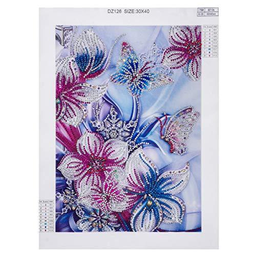 Full Drill Purple Flowers Rhinestone Embroidery Cross Stitch Supply Arts Craft Canvas Wall Decor 40x30 cm Diamond Painting Kits for Adults