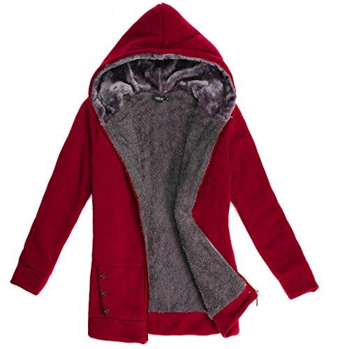 Highdas modo delle donne cappotto caldo del vestito casuale Felpe lunga Felpe Fleece Jacket Women Vino rosso