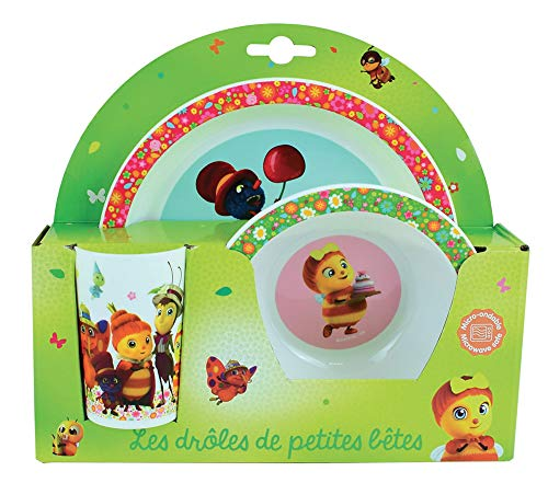 Fun House 05614 DROLES DE PETITES BETES Ensemble Repas Composé d'une Assiette, d'un Bol et d'un Verre pour Enfant