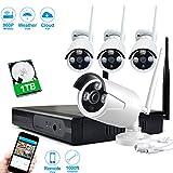 JOOAN TC-734NVR-4N-1T 1.3MP Wlan Kamera System 4 x 960P Netzwerk IP Cameras 4 Kanal NVR Plug & Play Innen / Außen Sicherheit CCTV funk überwachungssysteme - mit 1 TB Festplatte