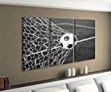 Leinwandbild 3 tlg Tor Fussball Ball Feld Sport Fußball schwarz weiß Bild Bilder Leinwand Leinwandbilder Holz Wandbild mehrteilig 9W747, 3 tlg BxH:90x60cm (3Stk 30x 60cm)
