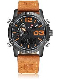 Reloj para hombre, de Naviforce, de estilo deportivo militar, analógico, digital, con correa de piel, doble zona…