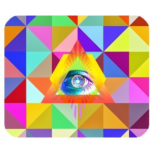 Colorful Triangles and Eye Personalized Rectangle Mouse Pad