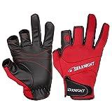 SeaKnight SK03 Neopren-Handschuhe, Outdoor, Sport, 3freie Finger, Angelhandschuhe, rutschfest, winddicht, zum Angeln, Jagen, Reiten, Fahrradfahren L rot