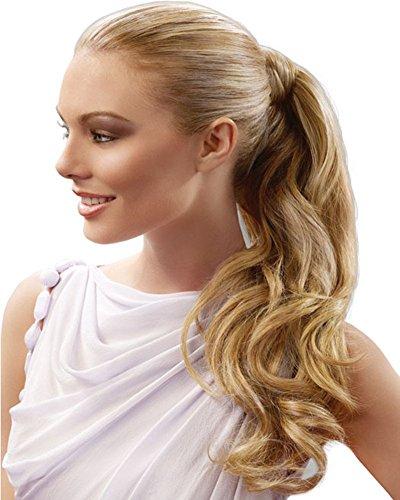 Remeehi, extension a coda di cavallo, per donne, capelli umani veri al 100%, ondulati, da avvolgere intorno ai capelli già presenti, lunghezza da 38,1a 76,2cm, peso 80 g