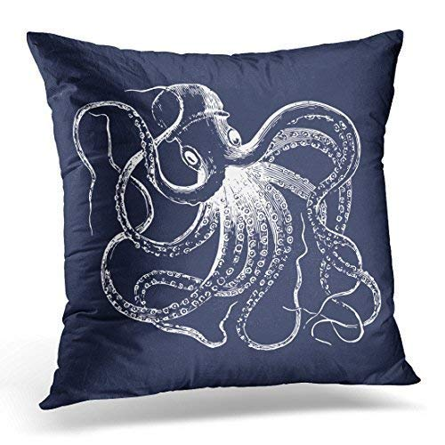 Decorativas para almohada, Throw Pillow Covers, Throw Pillow Cover Cool Navy Blue Vintage Octopus and...