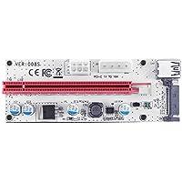 Hillrong PCI-E 1 Adaptador a 16 x Tarjeta de vídeo Extensible 3 Puertos de alimentación Mining Cable