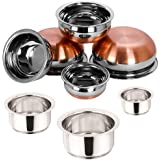 "Sonigram Serving & Cookware 8 Pcs. Set - Induction Tope 3 Pcs. Set 1000ml, 1500ml, 2000ml. Flat Bottom - With - Serving Handi 5 Pcs. Set - Copper Bottom - 500ml, 750ml, 1250ml, 1900ml, 2500ml, ""Stainless Steel - Multipurpose"""