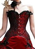Corset rouge et noir descendant avec attaches - XL