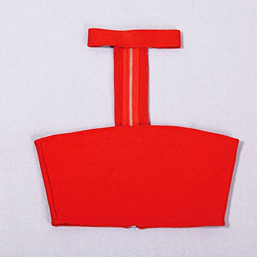 HLBandage Halter Neck Open Chest Rayon Short Bandage Crop Top Rosso