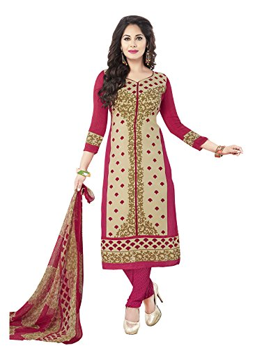 Ishin Synthetic Beige & Peach Party Wear Wedding Wear Casual Wear Bollywood New Collection Latest Design Trendy Printed Unstitched Salwar Suit Dress Material (Anarkali/Patiyala) With Dupatta  available at amazon for Rs.449