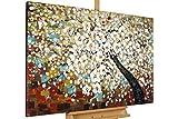 KunstLoft® Gemälde 'Zauber im Baumwipfel' in 120x80cm | XXL Leinwandbild handgemalt | Baum mit weißen Blüten auf Braun | signiertes Wandbild-Unikat | Acrylgemälde auf Leinwand | Modernes Kunstbild | Sehr großes Acrylbild auf Keilrahmen