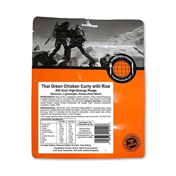 EXPEDITION FOODS expeditionfoods.com High Energy Serving Thai Green Chicken Curry with Rice (800kcal) -Freeze Dried Meal