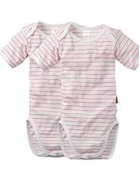 wellyou | 2er Set Kinder Baby-Body Kurzarm-Body | weiß neon-pink gestreift | geringelt | Feinripp 100% Baumwolle