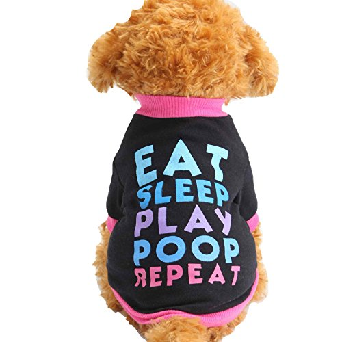 SAMGU Chihuahua Hundekleidung Jacken Mantel Haustier Kleidung T-Shirt Kostüm Bekleidung Hündchen Hunde Haustierkatze Farbe schwarz Größe X-Small -